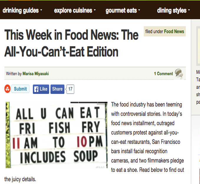 Menuism Food Blog - May 18, 2012